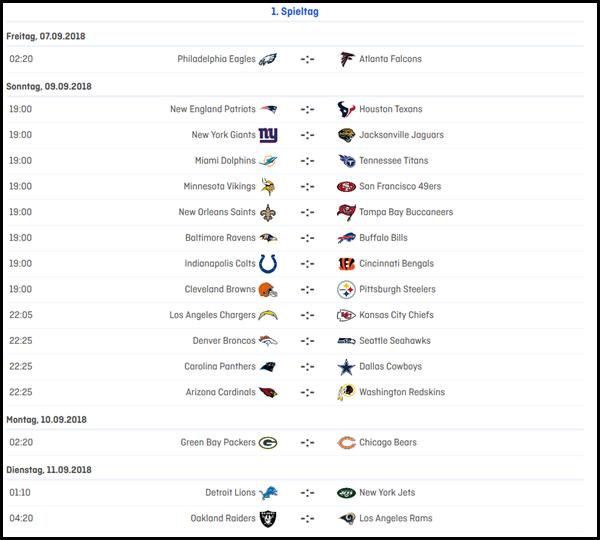 1.Spieltag in der NFL