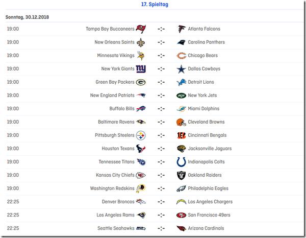 17.Spieltag in der NFL