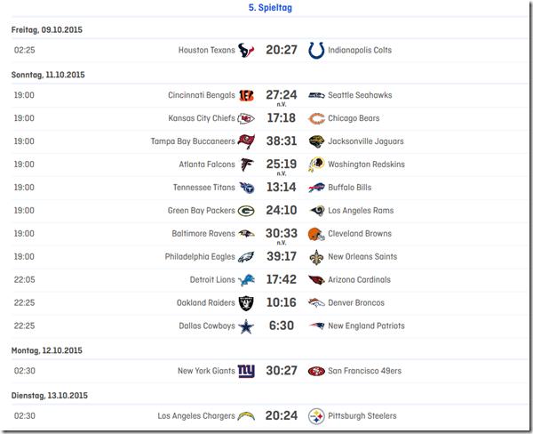 5.Spieltag 2015 in der NFL