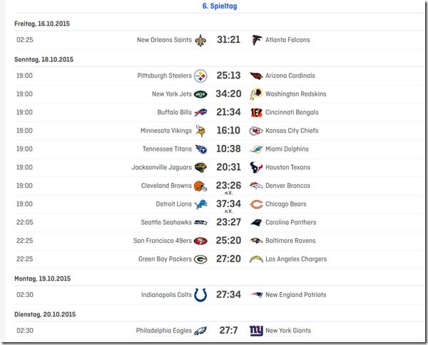 6.Spieltag 2015 in der NFL